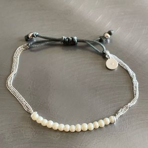 Stella & Dot white pearl and silver slide bracelet